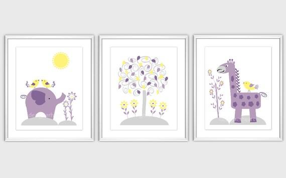 baby nursery wall art grey purple gray yellow by dezignerheart. Black Bedroom Furniture Sets. Home Design Ideas