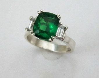 Sterling Kelly Green CZ Ring