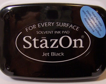 Jet Black STAZON Permanent INK PAD for Rubber Stamping, Leather, Metal, Wood, Shrink Art and more!
