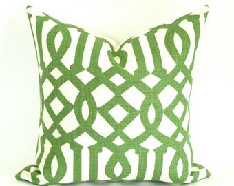 "Kelly Wearstler Schumacher IMPERIAL TRELLIS Pillow Cover in Green, Treillage/Ivory 16"", 18"", 20"", 22"", 24"" sq."