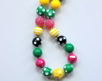 girl chunky bead necklace girl bubblegum necklace girl chunky bubblegum bead necklace yellow pink black green summer chunky necklace