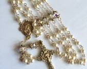Custom order for melisa - Swarovski pearls and crystals linked Rosary with gold accents