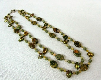 Olive Green jewelry Statement Necklace natural stone double strand Jasper necklace pearl agate serpentine Gemstone Jewelry Earthy rustic
