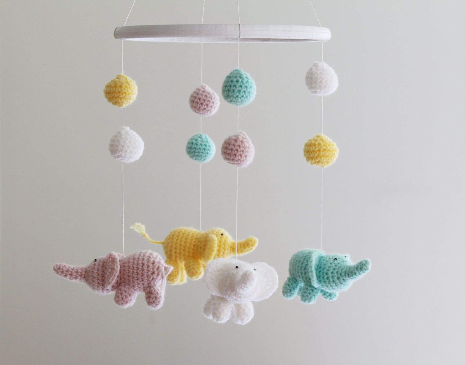 Crochet Baby Mobile Patterns : Baby Elephant Mobile Crochet Mobile Baby Girl Crib Mobile