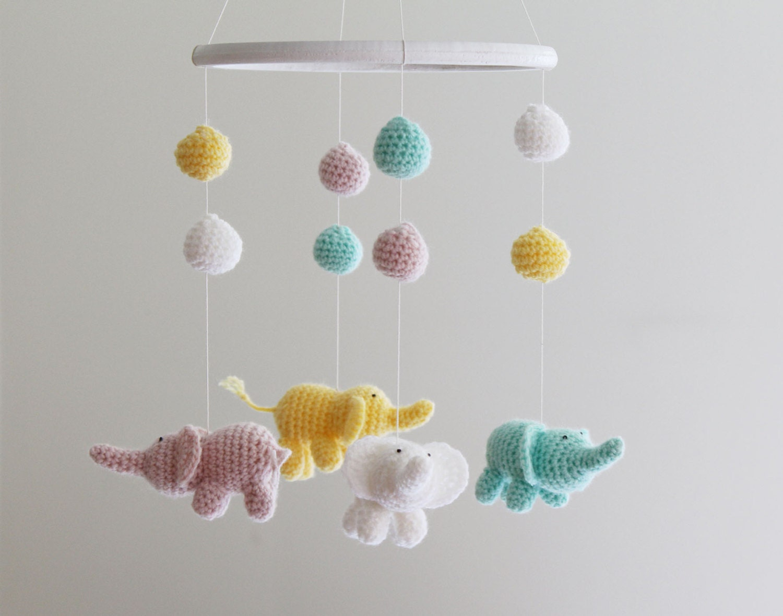 baby elephant mobile crochet mobile baby girl crib mobile. Black Bedroom Furniture Sets. Home Design Ideas
