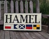 Custom Nautical Signal Flag wooden sign - personalized sign, nautical sign, nautical wedding gift