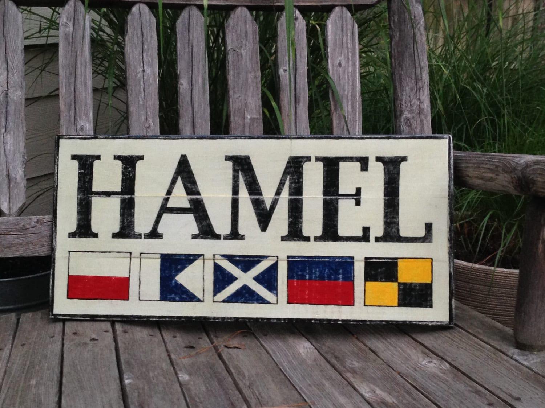 Custom Nautical Flag Name Wooden Sign Personalized Nautical