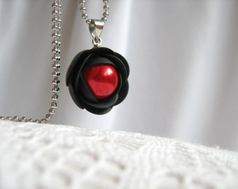 Polymer clay pendant - Black and red rose flower with stainless steel ball chain and Czech pearl bead