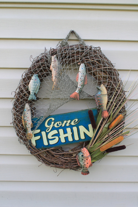 Fishing Wreath Gone Fishin Father 39 S Day Gift Lake House