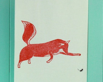 Block Printed, Hand Painted Fox and Mouse Tea Towel