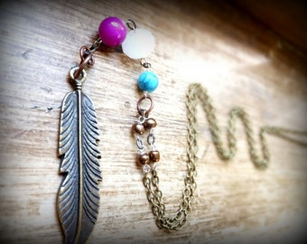 Long Feather Charm Necklace