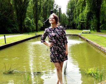 shift dress, floral dress, short dress, navy dress,  sheath dress, A line dress