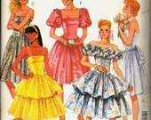 1980s Uncut Strapless Tiered Skirt Special Occasion Dress McCalls 3172 Size 6 Bust 30 half Prom Dance Gown Pattern Gathered