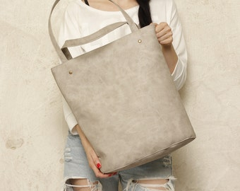 Shopper bag beige blazed tote bag shoulder oversized extra large big school laptop market everyday vegan faux leather pockets zipper gift