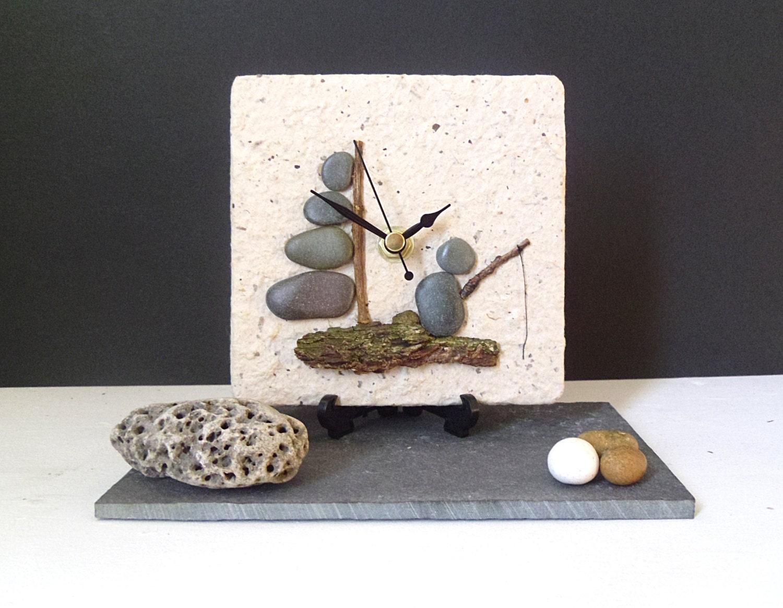 pebble desk clock small wall clock beach nautical clock. Black Bedroom Furniture Sets. Home Design Ideas