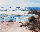 Wild Surf Breakers ocean painting seascape California Coast Original Watercolor painting
