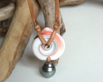 Tahitian pearl and lambis shell necklace