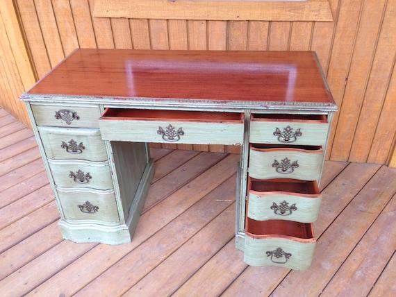 items similar to 1940s or older antique desk antique cherry cabinet distressed green desk. Black Bedroom Furniture Sets. Home Design Ideas