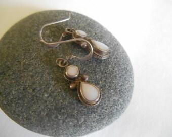 Sterling Silver Pierced  Earrings with 2 Milk Quartz Stones Dangling