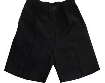Boys Black linen shorts, Infant  Linen Short, Toddler Linen Short, Teen Linen Short,  Bermudas, Beach, #BS34
