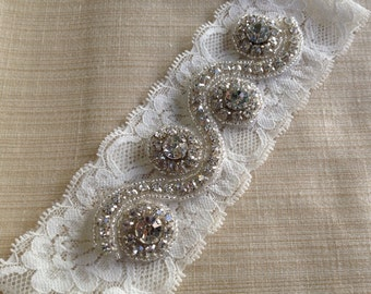 Ivory Wedding Garter, Rhinestone and Crystal Garter Garter