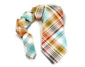 Bright plaid tie, tartan tie, spring plaid tie, bright plaid wedding, spring tie, mens tie, mens neck tie, plaid necktie, easter tie