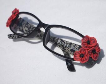 Regal Orange and Black Floral Reading Glasses +2.00