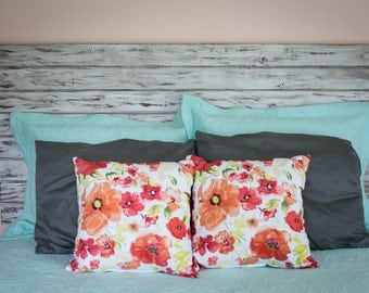 Rustic White Queen Headboard, Floating headboard, Distressed Wood, Shabby Chic, Whitewash furniture, king size, full size