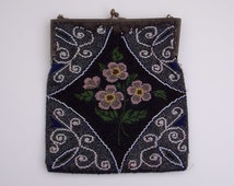 Floral Beaded Flapper Purse - Antique Micro Glass Beaded Evening Bag - Vintage 1920s Flapper Bag