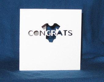 Congrats Onesie Card, Hand Cut Card