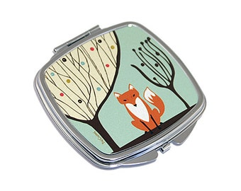 Fox gifts. Compact Mirror for handbag or pocket. Gift for women. M13