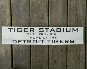 "Reclaimed Wood Sign~ Tiger Stadium~ Detroit Tigers~ 5"" x 24"""
