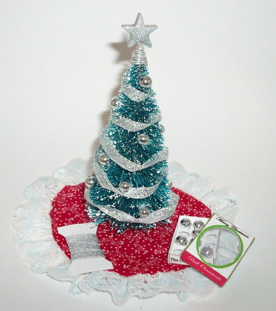 Miniature Dollhouse Decorated Silver CHRISTMAS TREE With