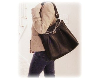 Black Genuine Leather Shoulder Bag by Anne O'Brien Design / Genuine Leather Handbag / Supple Black Shoulder Bag / The Viki