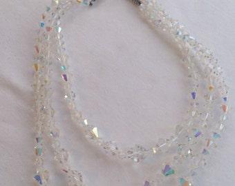 Vintage three strand crystal bead necklace