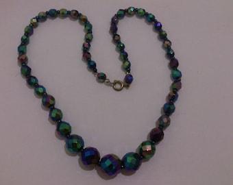 Vintage petrol bead necklace