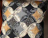 Quilted Oragami Pillow | Black Grey Pillow | Cathedral Window Pattern | Hand made