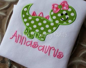 Girl Dinosaur Embroidered Shirt- Applique- Girls- Custom- Dino- Girly Dinosaur Shirt