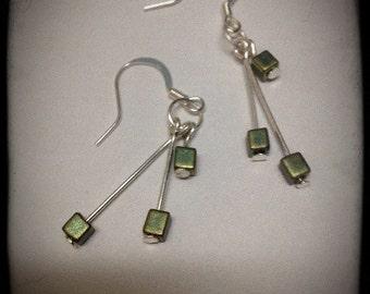 Japanese Miyuki iridescent glass earrings.