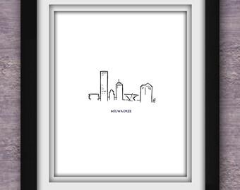 Milwaukee Skyline Minimalist Print