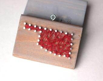 Oklahoma String and Nail Art Rustic Wood Ornament