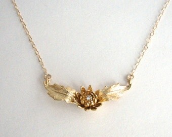 Gold Flower Necklace, Gold CZ Flower Spray, Gold Flower Pendant, Cubic Zirconia, Statement Necklace - 14K Gold Fill Chain