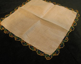 vintage hanky, blue, green, gold tatted edge