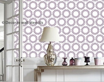 Flower wall stencil, Flower pattern stencil, Reusable stencil, DIY décor