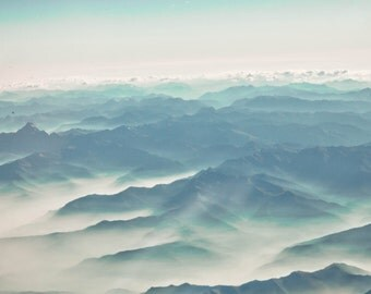 SALE French Alps Panoramic Canvas, Photograph Print Wall Art, Blue Mountains, Misty Clouds