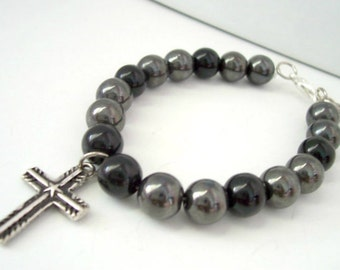 Christian Jewelry Bracelet for Kids With Small Cross Charm Children's Jewelry Silver Cross Charm