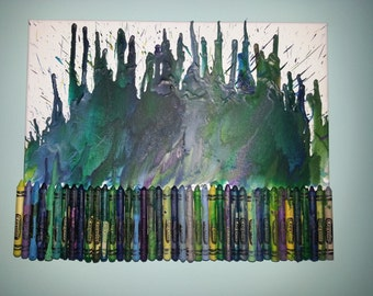 Melted Crayons on Canvas - Blue Green
