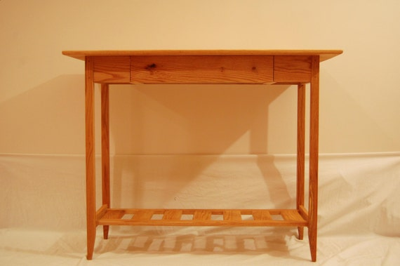 Shaker Oak Sofa Table/ Hall Table With Drawer And Shelf