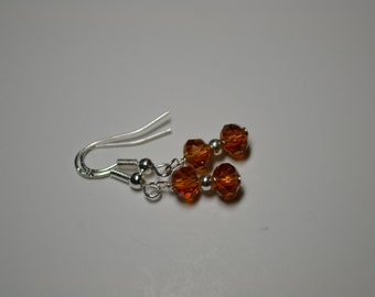 Amber Rondelle Swarovski Crystal Sterling Silver Earrings