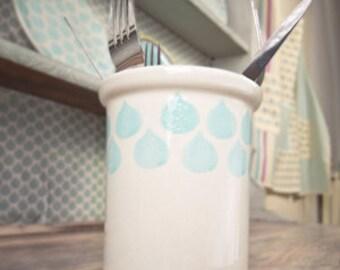 Hand-painted utensil holder Sienna